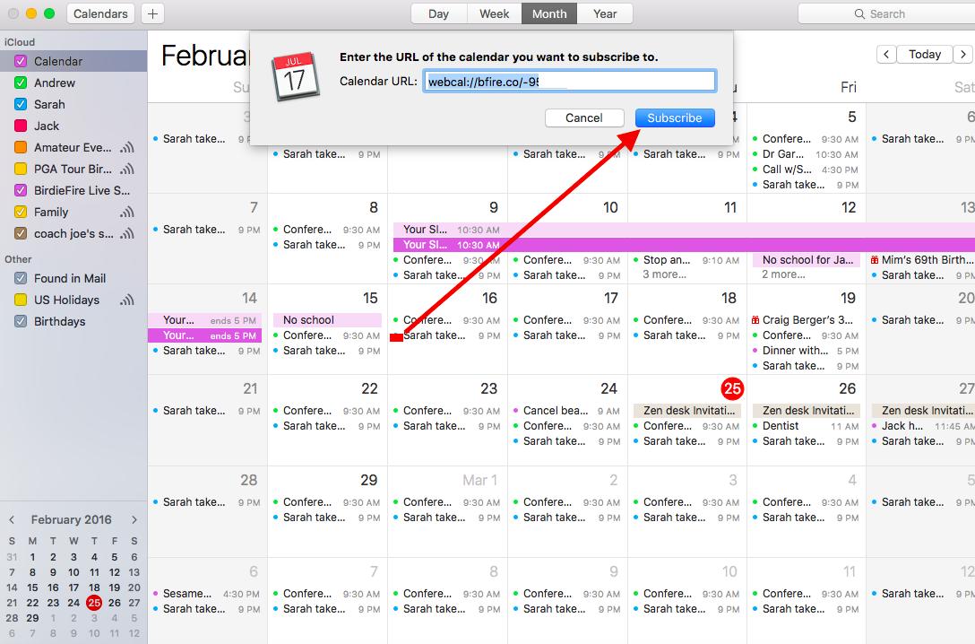 add calendar to your ical google calendars etc birdiefire